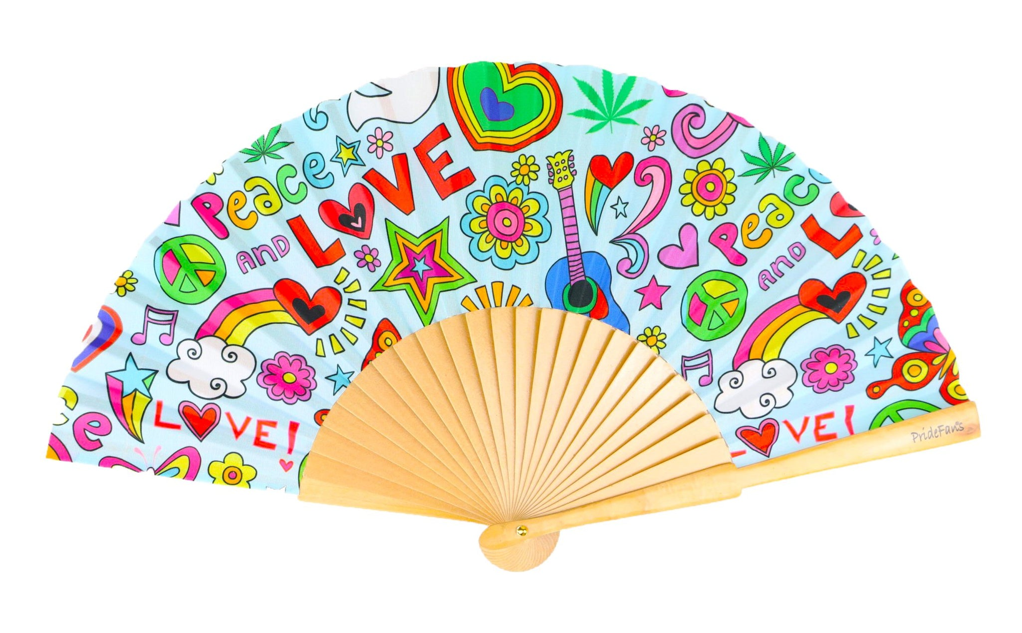 Pride Fans peace love rainbow gay hand fan