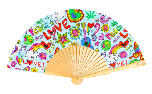 Pride Fans brand wood and fabric hand fan. Good Vibes Eco-friendly fan. Vibrant colors. Fade resistant fabric. LGBTQ Pride Rainbow Folding Fan.