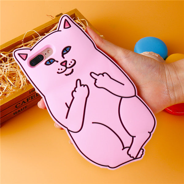 3D Cute Cats Pocket Silicone Case: iPhone, Luxury Soft Silicon Rubber Cover