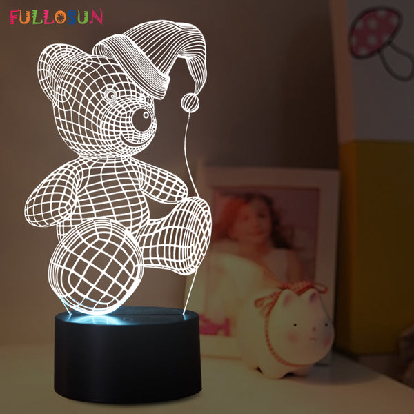 Home Decor Lamp: Lovely Bear 3D LED, 7 Colors, Beautiful for Kids Room