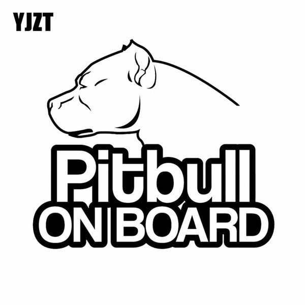 16CM*13.9CM Pitbull On Board Dog Vinyl Funny Waterproof Car Sticker Black / Silver