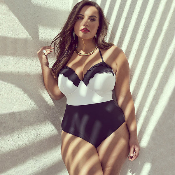 Dark and White Swimming Suit, Classical Lines. Size XL to 4XL