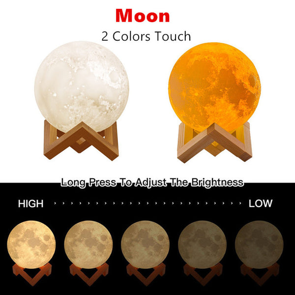Moon Lamp Romantic Night Light: 3D Texture, 2 or 16 Colors, Touch + Remote Control