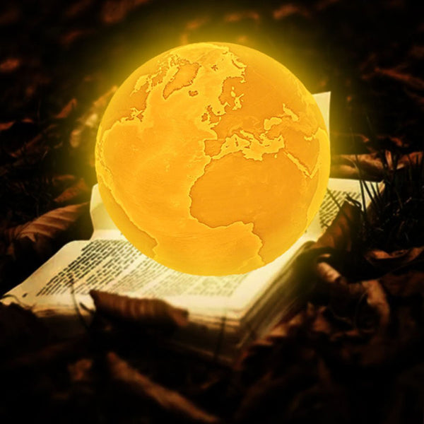 3D Earth Lamp, Night Light, in 2 our 16 Colors, Touch or Remote Control