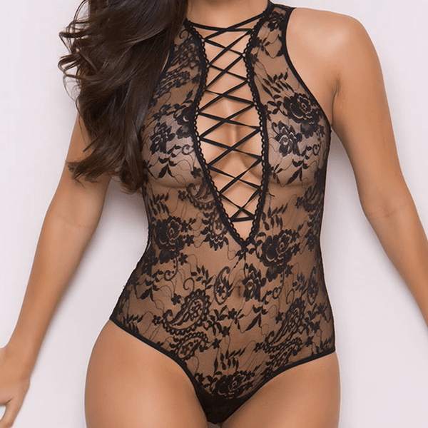 Black with Stripes Lace Babydoll