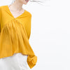 V Neck Cuffed Sleeves Blouse