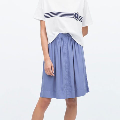 A Line Buttoned Front Skirt