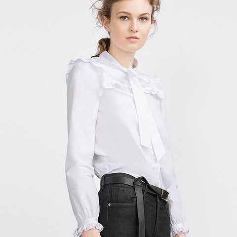 Tie Neck Ruffle Trim Blouse