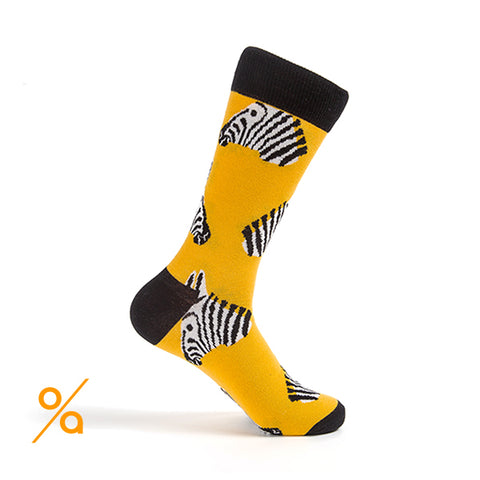 Yellow Zebra Head Socks