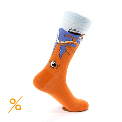 Orange Crazy Octopus Art Socks