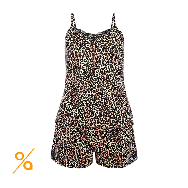 Pajama set with straps top, leopard print