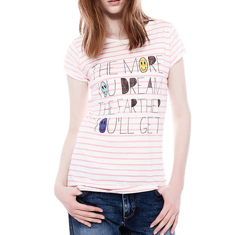 Slogan Print Striped T-Shirt