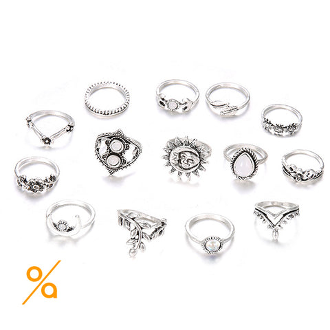 Bohemian Fashion Silver Ring Set