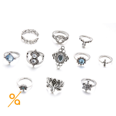 Fashion Vintage Silver Ring Set