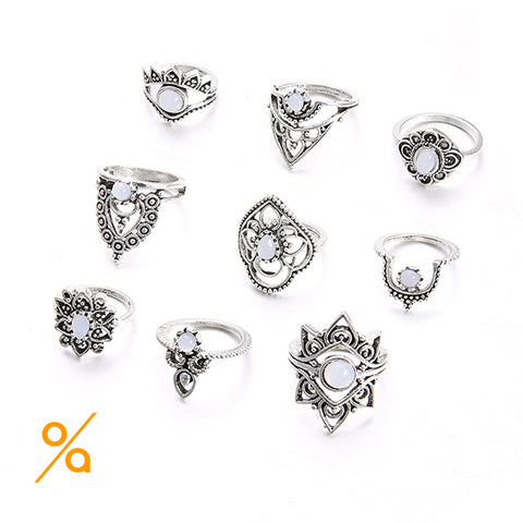 Silver Metal Jewellery Ring Set