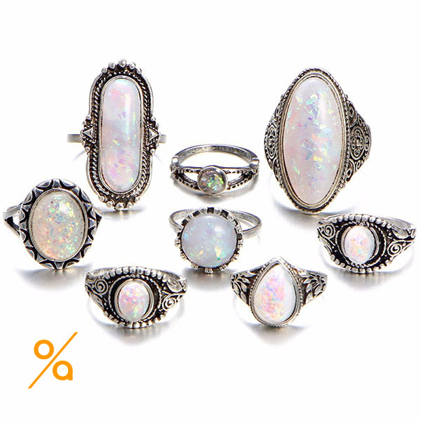 Silver Gemstone Full Finger Ring Set