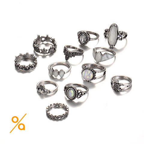 Boho Jewelry Silver Ring set