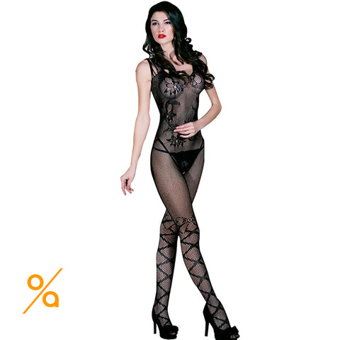 Black Mesh Crotchless Bodysuit