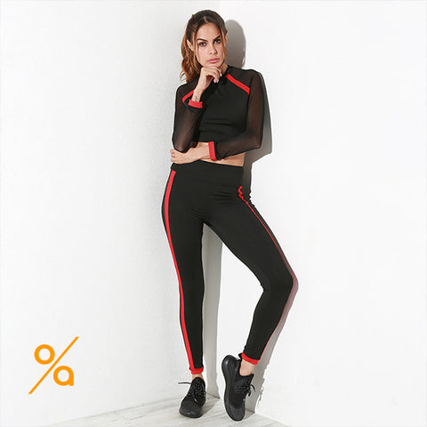 Elegant Black with Red Stripes GYM Wear