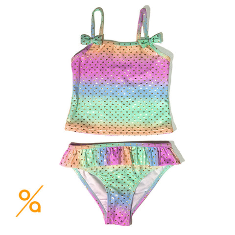 Glowing Hearts Girls Swimsuit