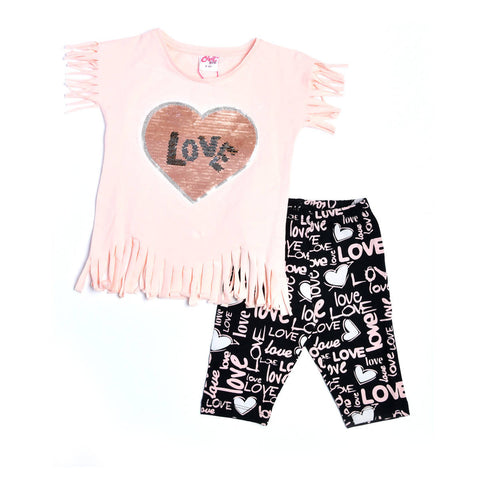 Love Printed Design Pajama Set