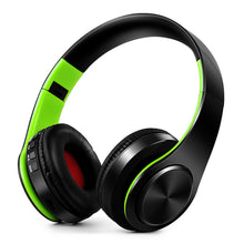 ?4 in 1 Wireless Bluetooth 4.0 Headsets MP3 Player TF Card FM Radio 3.5mm Wired Earphone-Green