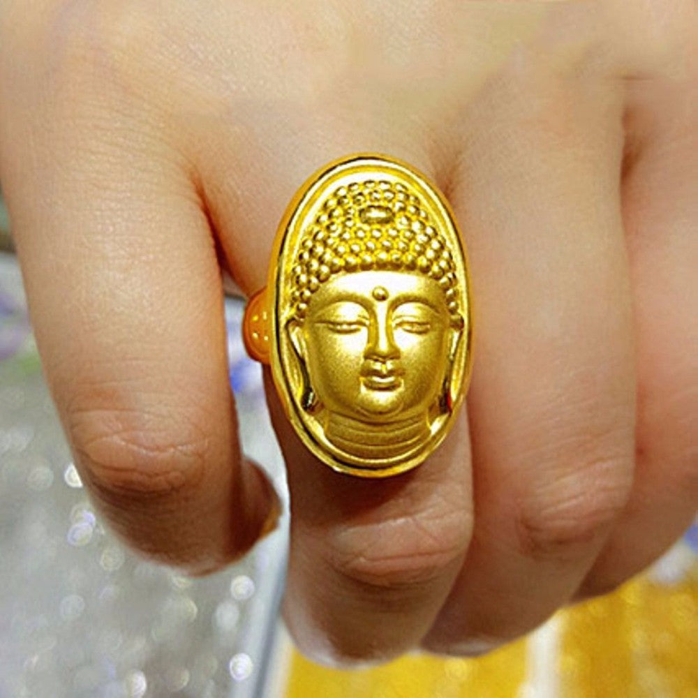 Hot sale  Fine Pure 24K Yellow Gold Ring Women Men Luck Bless Buddha Fashion Ring 5.48g