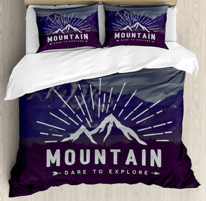 Duvet Cover Set Dare to Explore Quote Mountain Landscape Journey Adventure Themed Motivational Decorative 4 Piece Bedding Set