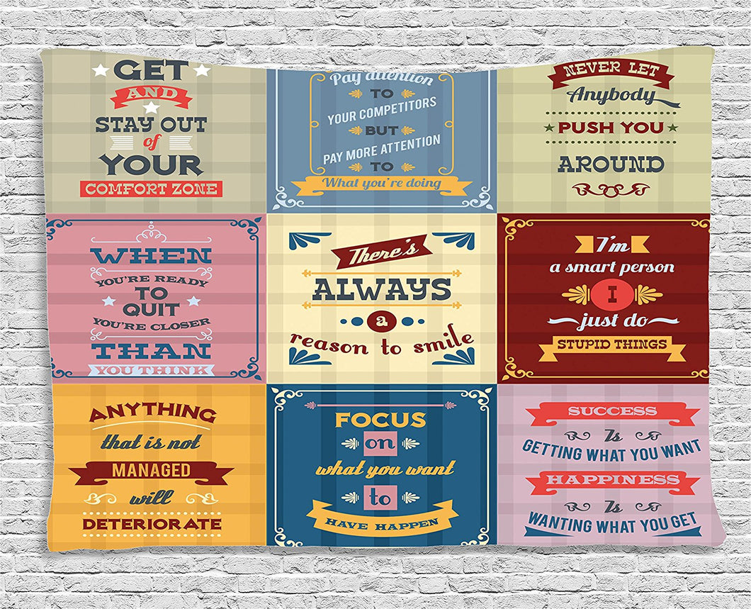 Quotes Decor Tapestry Collection of Motivational Quotes Success Positive Attitude themed Artwork Print, Wall Hanging for Bedroom
