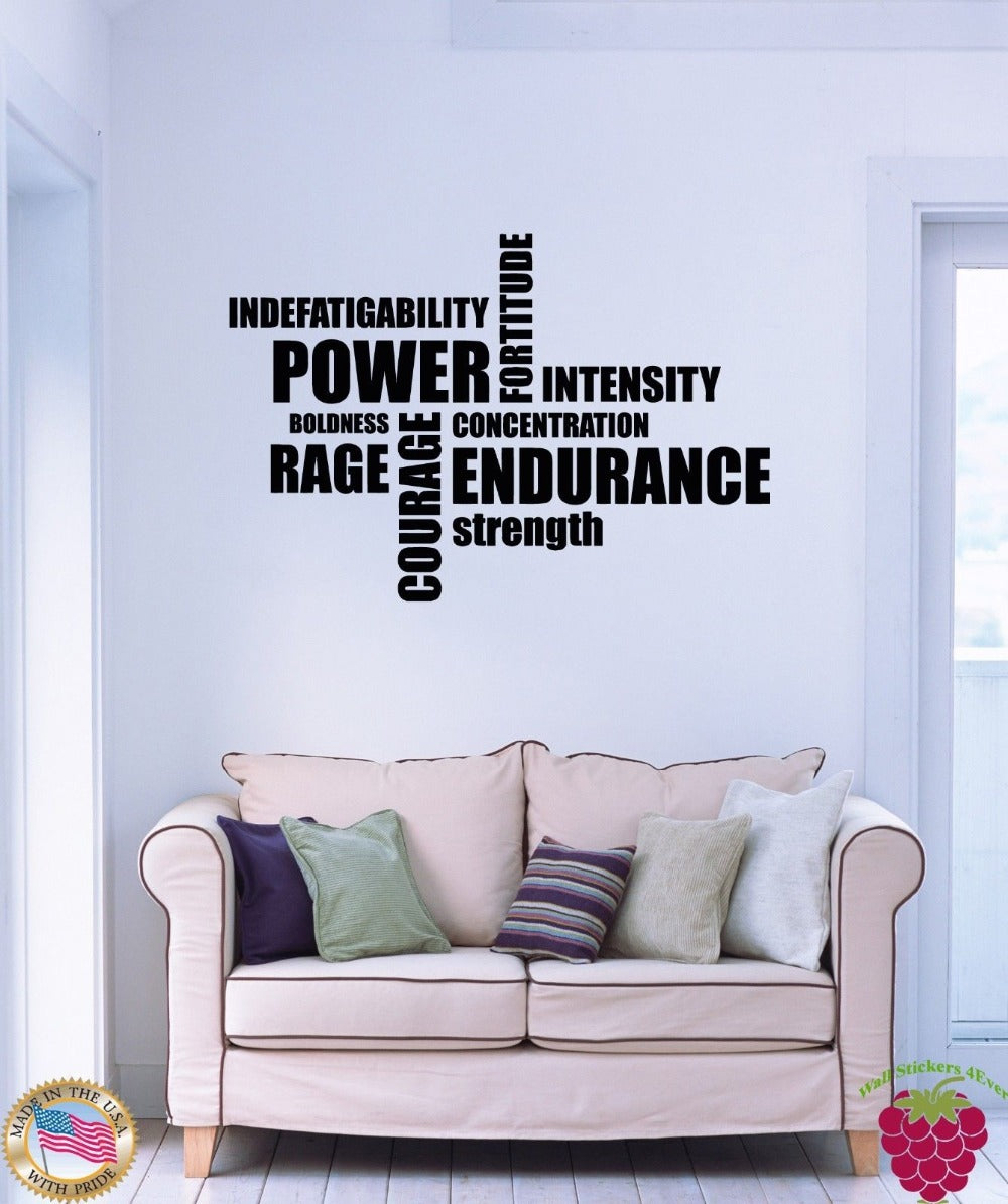 Wall Stickers Vinyl Sport Motivation Words Power Endurance Rage Strenght