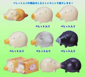 Takara TOMY Yujin Lighton Light bulb pig Figure Strap (set of 6)