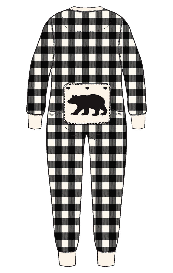 Moose On Plaid Kids Union Suit