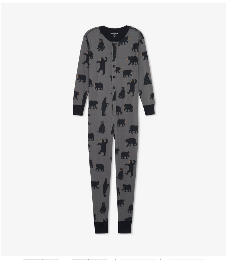 X SMALL and SMALL Charcoal Bears Adult Union Suit
