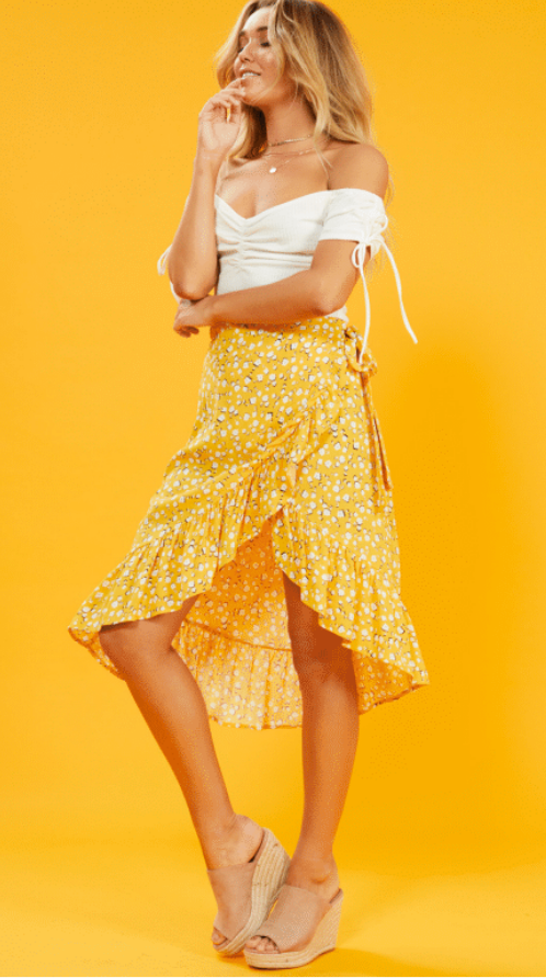 Summer Daisy Wrap Skirt