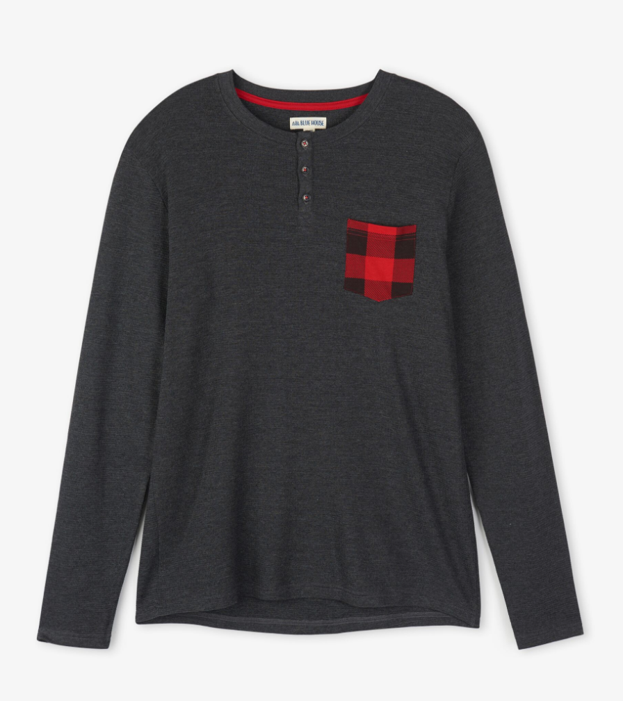 XL Buffalo Plaid Henley Long Sleeve - Men