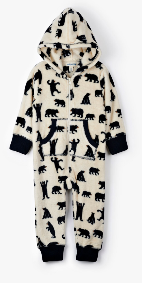 Black Bears Fleece Jumpsuit - Kids