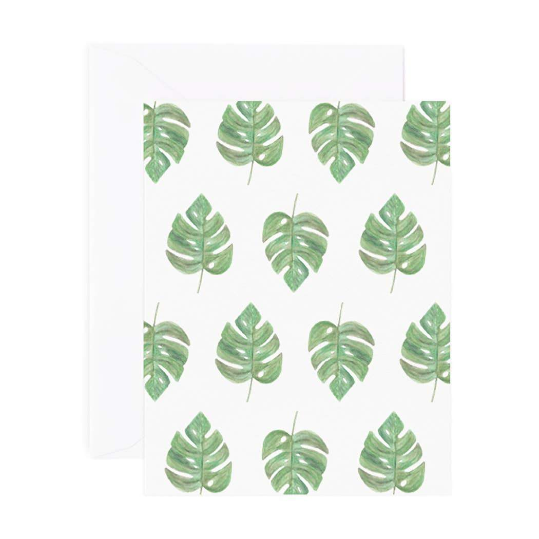 Green Monstera Print Card - Urban Sprouts