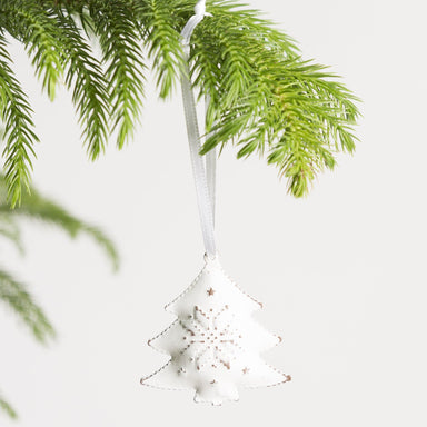 House of Moss Ornament White Frosted Tree Ornament