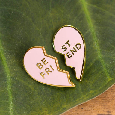 Old English Company Pin Best Friends Heart Enamel Pin - Pink