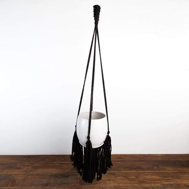 Skirted Black Cotton Macrame Plant Hanger - Urban Sprouts