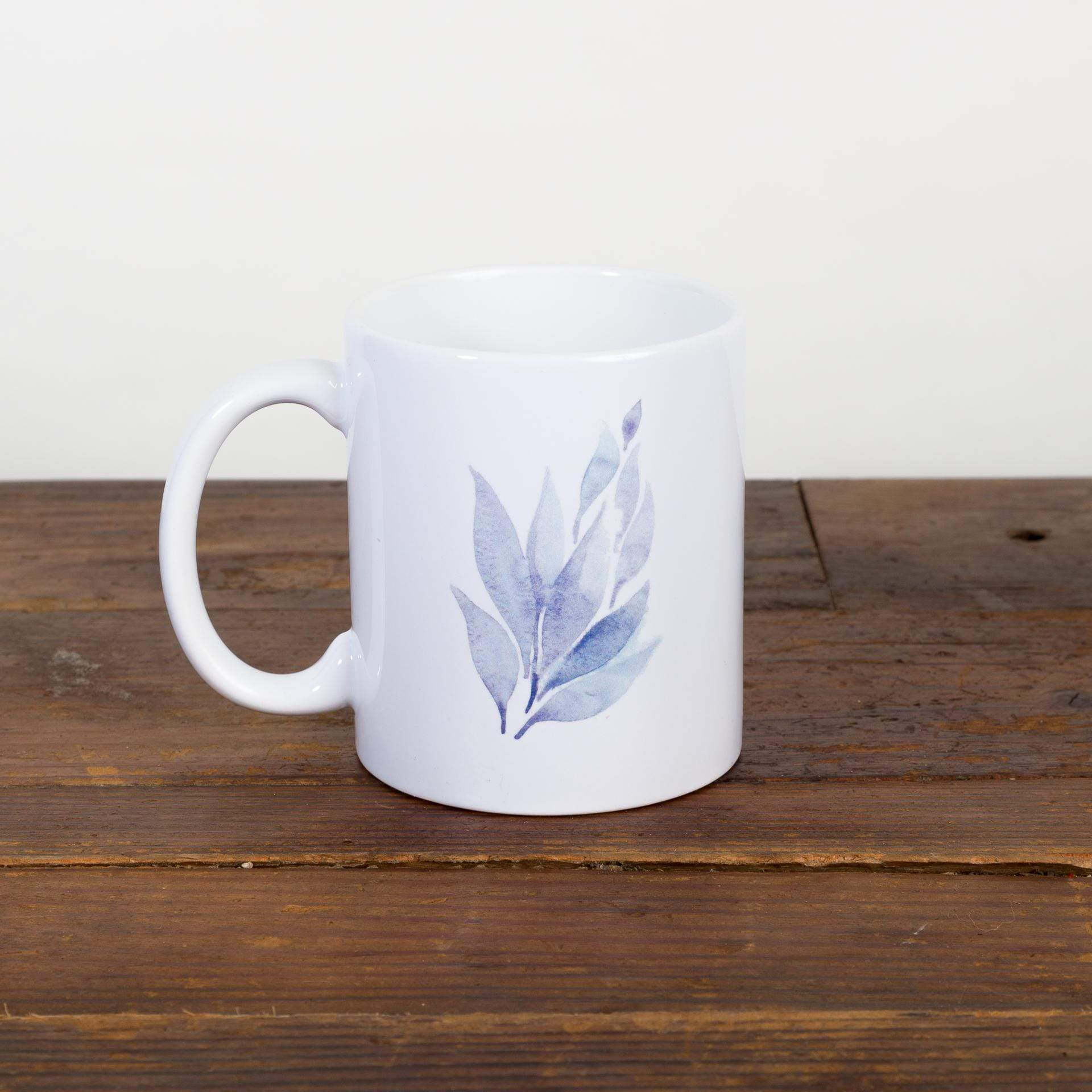 Blue Watercolor Foliage Mug - Urban Sprouts