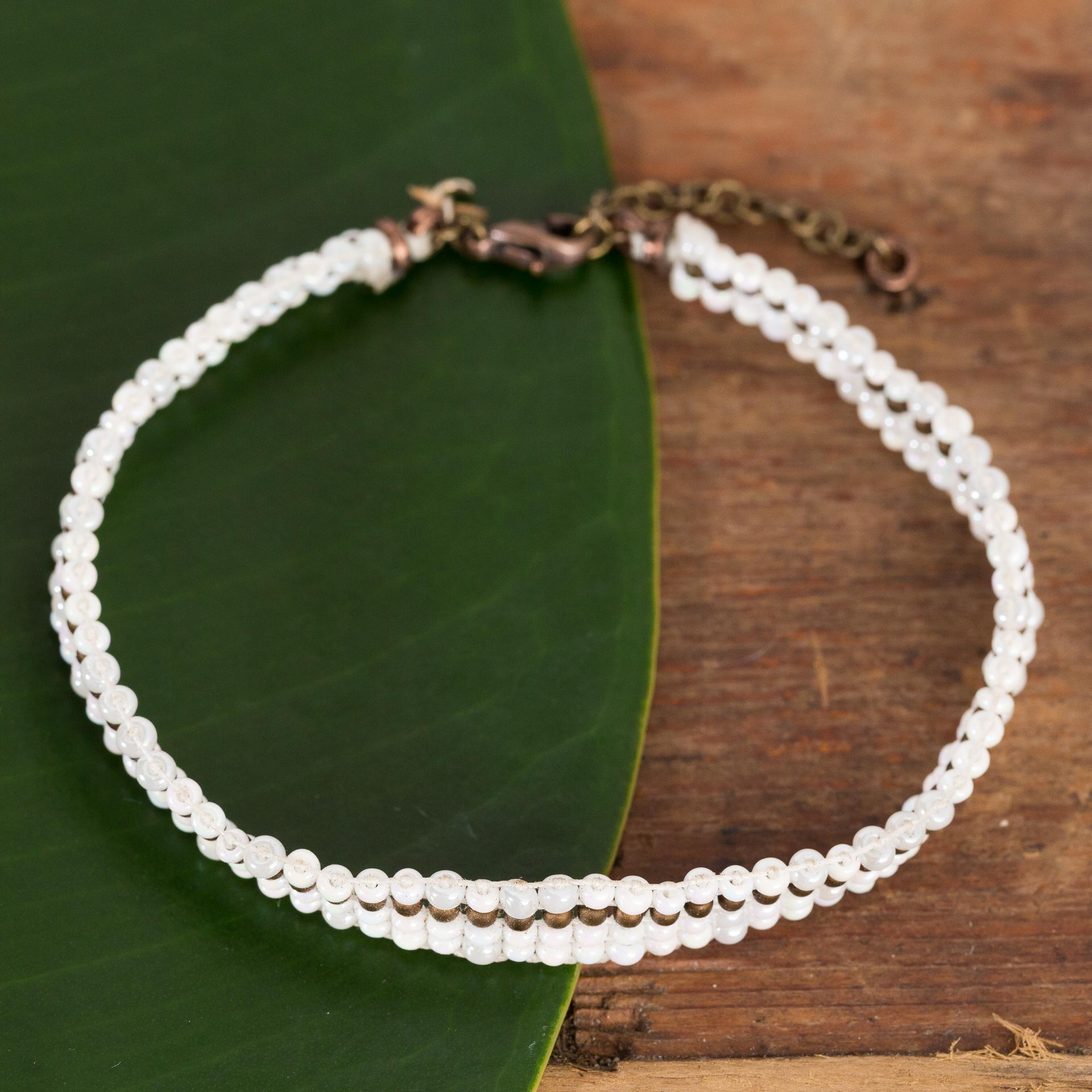 Beaded White And Bronze Bracelet - Urban Sprouts