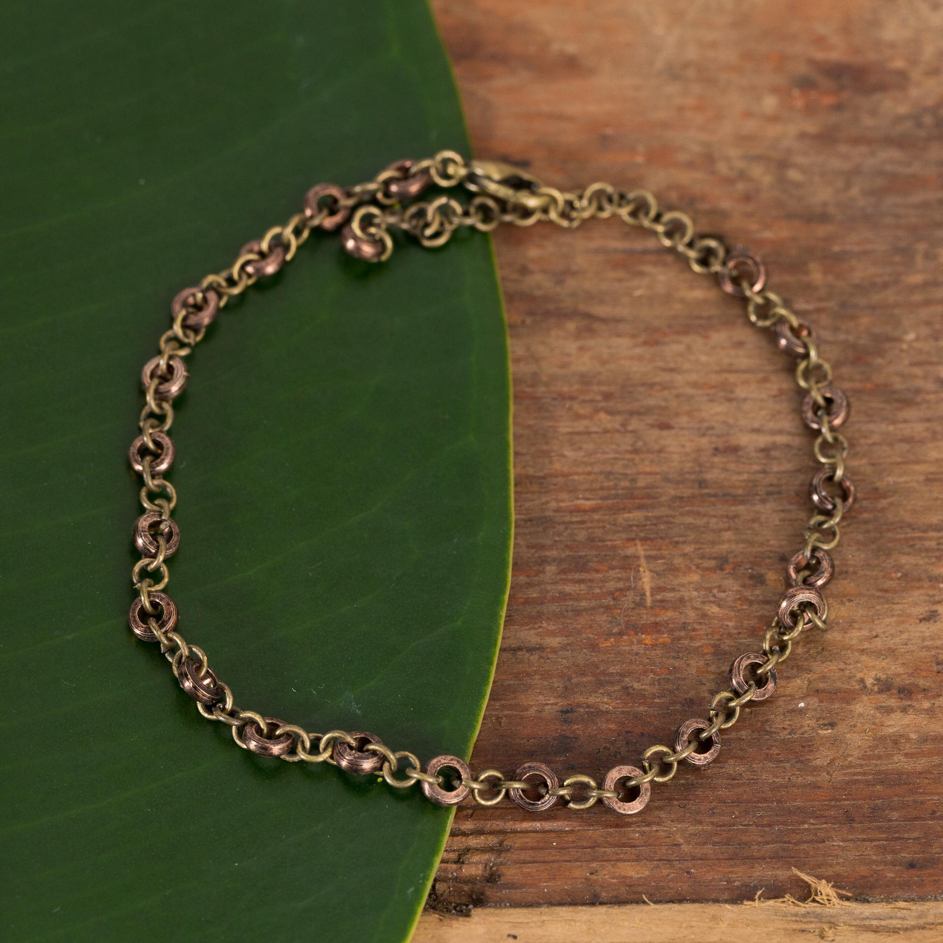 Brass And Copper Close Chain Bracelet - Urban Sprouts