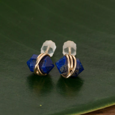Herkimer Lapis Wrapped Studs - Urban Sprouts