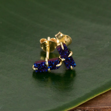 Peacock Druzy Bar Studs - Urban Sprouts
