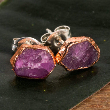 Raw Ruby Studs - Urban Sprouts