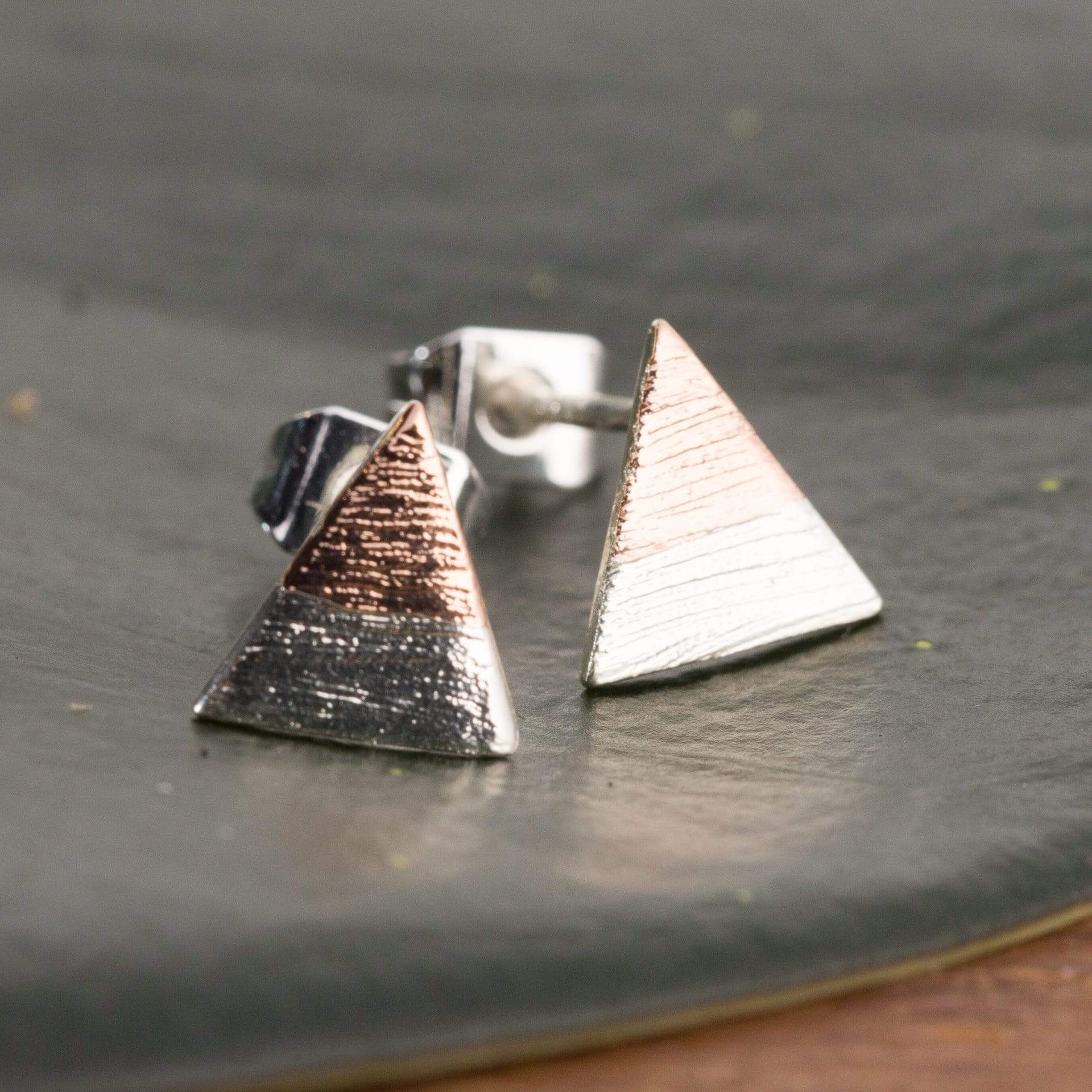Silver Dipped In Rose Gold Triangle Stud Earrings - Urban Sprouts