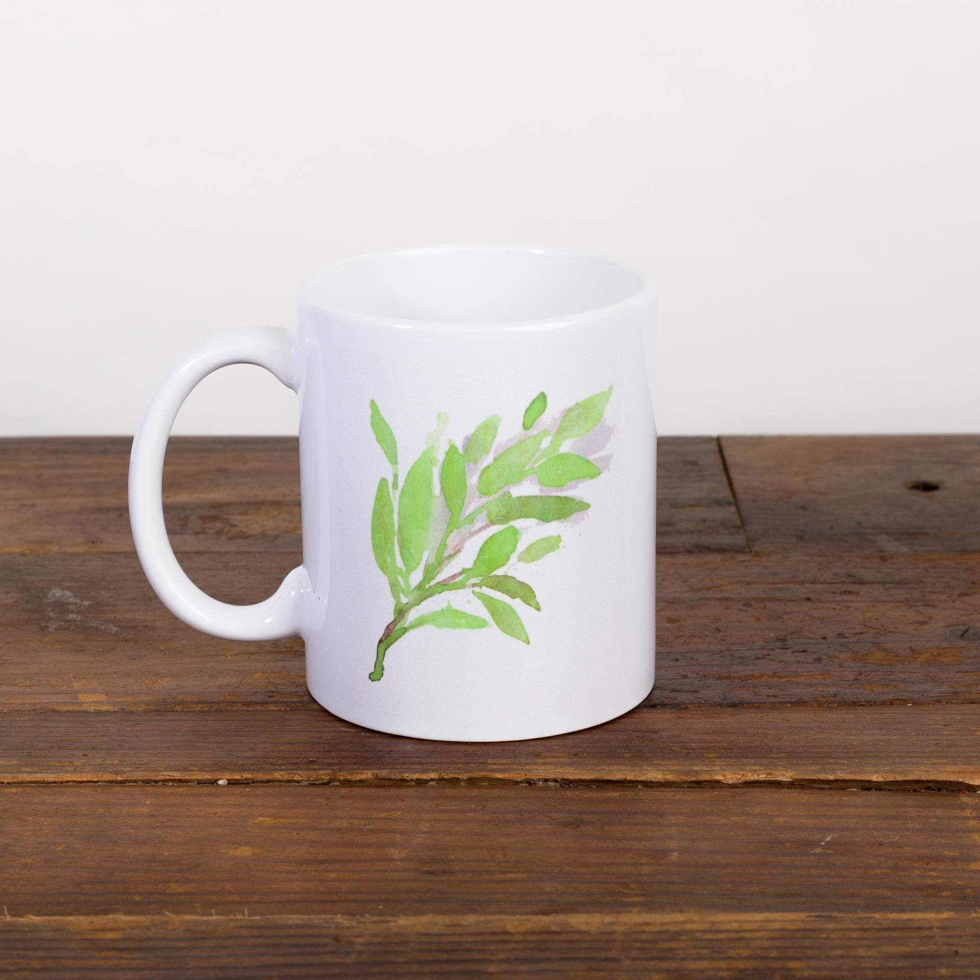 Lime Green Watercolor Leaf Mug - Urban Sprouts