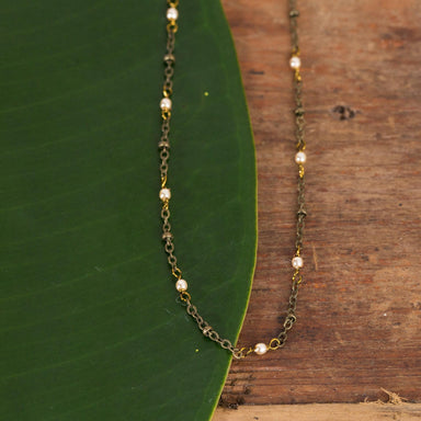 Brass And Fresh Water Pearl Dainty Chain - Urban Sprouts