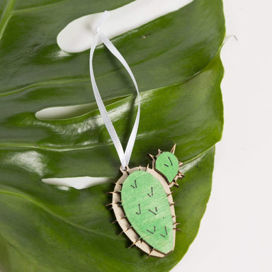 Wood 'Prickly Pear Cactus' Ornament - Urban Sprouts